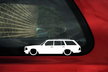 2x Lowered car silhouette stickers - for Mercedes-Benz 280TE W123 / W123T estate wagon | classic